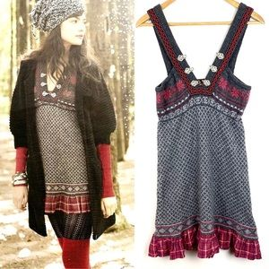 Free People Dress Nordic Fair Isle Lambswool Sz M